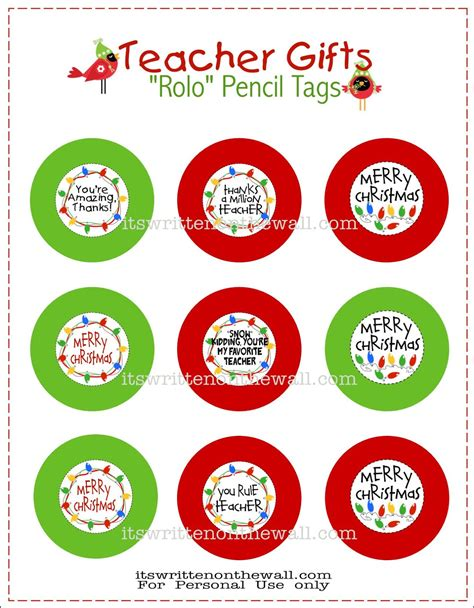 printable christmas gift tags for teachers freebie teacher christmas gift rolo pencils w tags