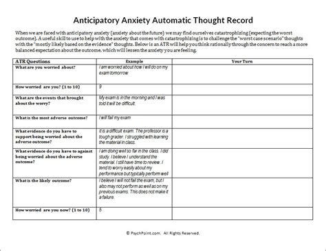catastrophizing worksheet anticipatory anxiety automatic thought record worksheet psychpoint