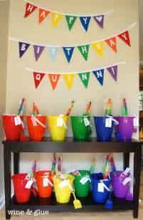 Backyard 1st Birthday Party Ideas Rainbow Bunting On Pinterest