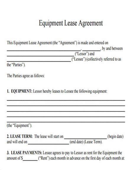 printable equipment lease agreement printable lease agreement free premium templates