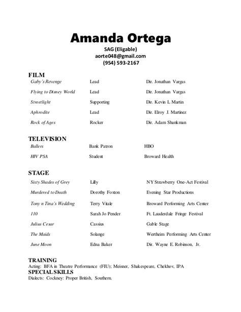 Amanda Ortega 2017 Acting Resume Acting Resume Template 2017