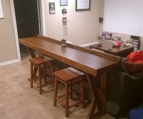 long table behind couch easy behind the couch bar top for movie night 8 steps