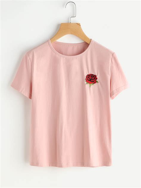 embroidery shirt embroidered t shirt shein sheinside