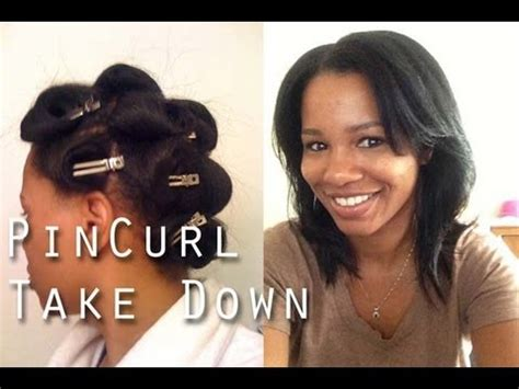 how to do pin curls on black women s hair straight natural hair pin curls take down youtube