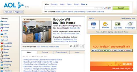 Aol Home Page by Aol Launches Clone Of Yahoo Home Page Andy Sternberg