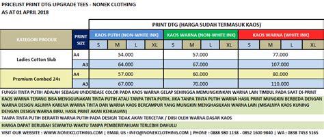 Kaos Costume Sablon Printing Ukuran A4 21 X 30 cetak kaos digital dtg sablon printing kaos digital satuan nonek clothing