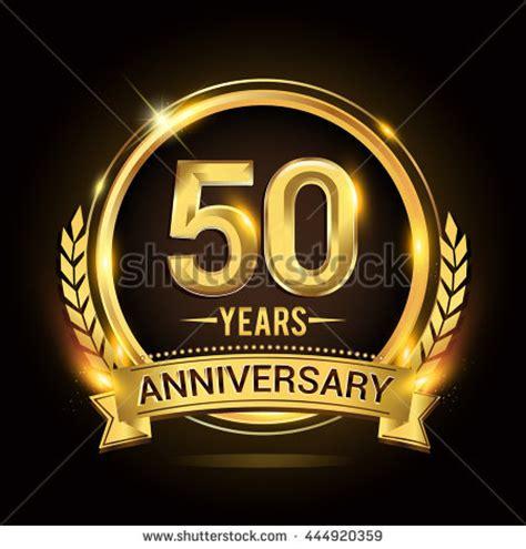 celebrating 50 years anniversary logo golden stock vector