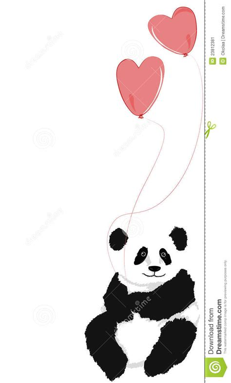 Panda sitting with 2 heart balloons stock image image 23812381