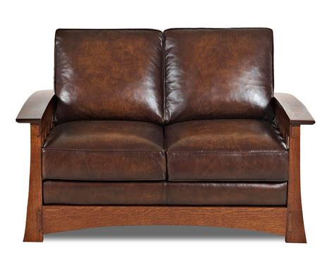 loveseat com mission style leather loveseat comfort design higlands