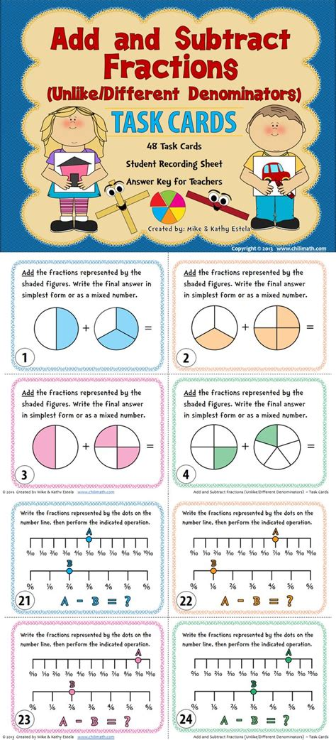adding fractions card template adding and subtracting fractions with unlike denominators