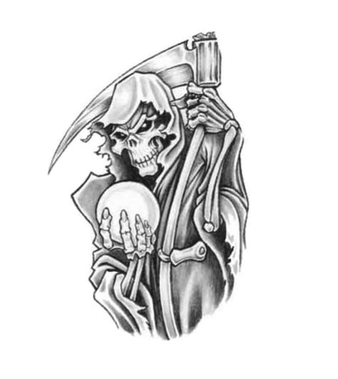 death tattoo design grim reaper holding hourglass design