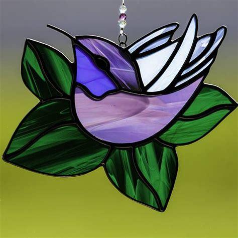 Stained Glass Purple stained glass purple and blue hummingbird suncatcher