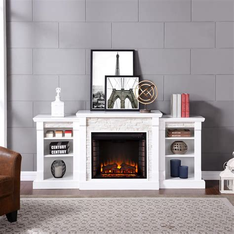 Southern Enterprises Nassau 71 75 In W Faux Stone White Electric Fireplace With Bookcase