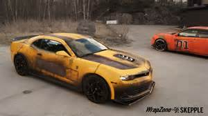 Chevrolet Camaro Bumblebee Transformers Bumblebee Battle Vinyl Wrap Skepple Inc