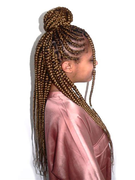 side bun for box braids ramia half cornrow bun half box braids side kids with curls