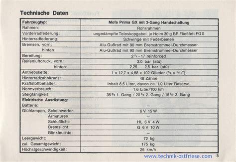 Sachs Motor Technische Daten by Hercules Prima Gx Betriebsanleitung Technische Daten