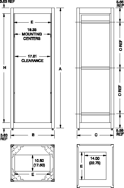 Rack Cabinet Dimensions by Hammond C3f Series Welded Rack Cabinet Frames Hammond