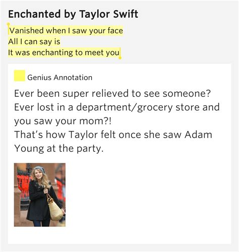 taylor swift enchanted genius vanished when i saw your face all i can say is it