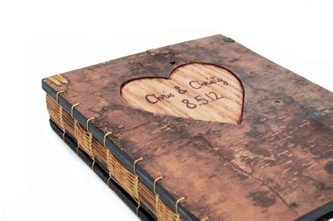 Custom Made Covers by Made Guest Book With Engraved Tree Bark Cover By