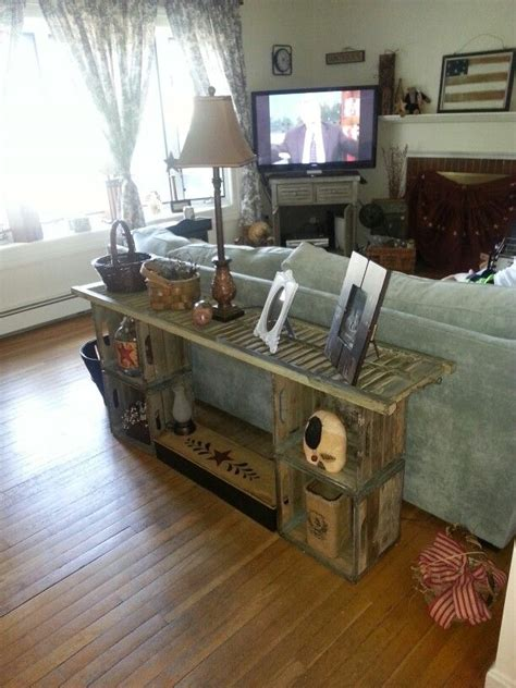 idea for wood metal mix decorations sofa table made from shutter and old wood milk crates