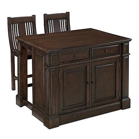 black kitchen island with stools home styles prairie home 3 kitchen island and stools set in black oak bed bath beyond