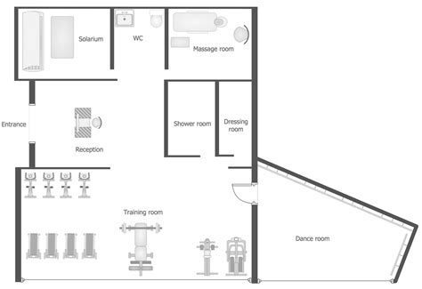 area of a floor plan gym and spa area plans solution conceptdraw com