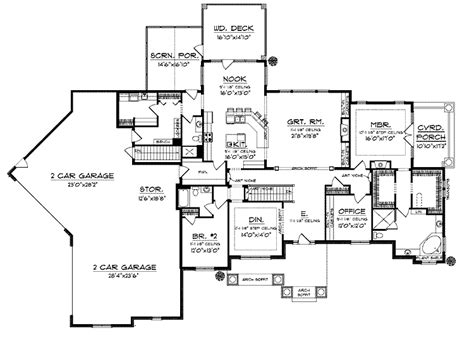 4 bedroom ranch house plans with walkout basement floor plans aflfpw23945 1 story ranch home with 4