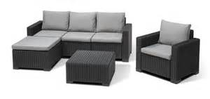 2 Seater Rattan Sofa Allibert Moorea Lounge Set Graphite Allibert