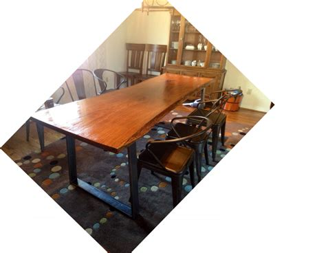 Diy Dining Room Table With Bench Diy Dining Room Table With Steel Bench Legs