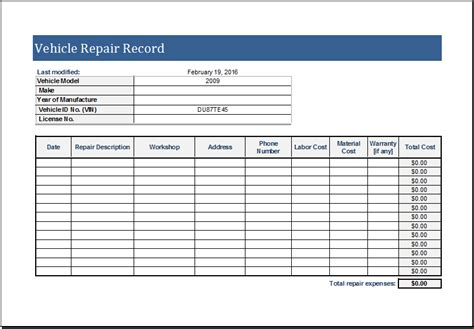 maintenance log template vehicle maintenance log form template b2u