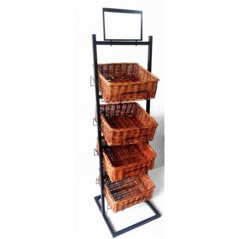 basket display rack fixture displays 4 tier basket stand wicker basket bakery