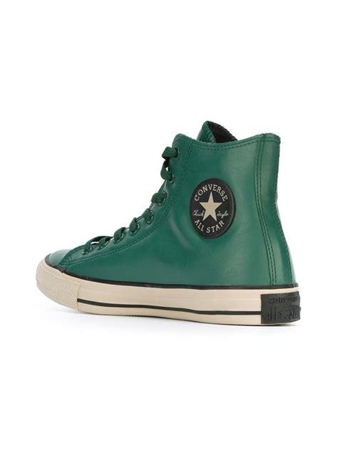 lyst converse rubber high top sneakers  green  men