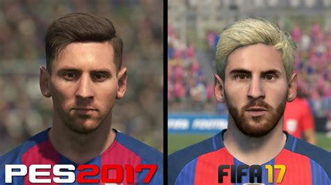 fifa   pes  faces comparison barcelona messi