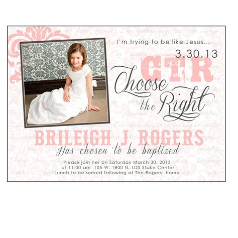 Lds Baptism Card Template by Lds Baptism Invitation By Busybredesigns On Etsy
