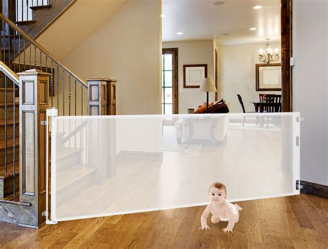 Baby Gate For Bottom Of Stairs With Banister Retract A Gate Made In Usa Retractable Safety Gates For