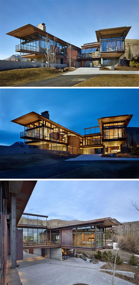 modern mountain house  filled  industrial