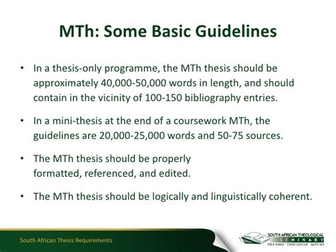 mini dissertation south thesis requirements