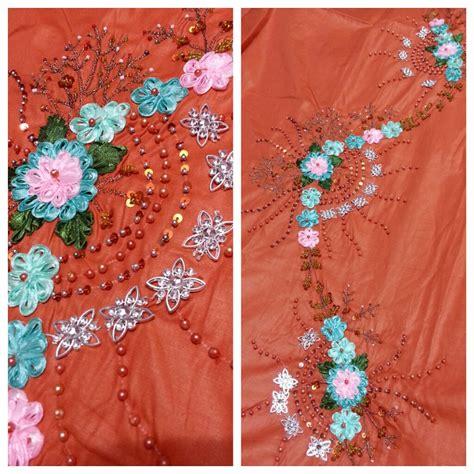 design bunga sulam simple covered special kain sulam manik bunga