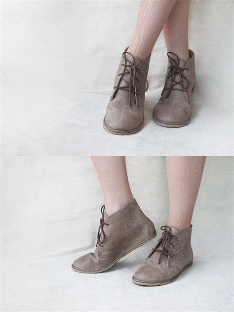 leona in ecru handmade leather flat lace up ankle boots
