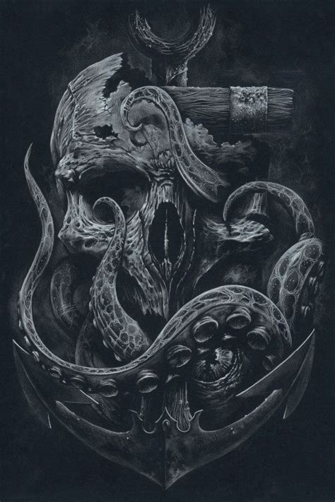 skull octopus tattoo the locker custom print octopus skull anchor black by