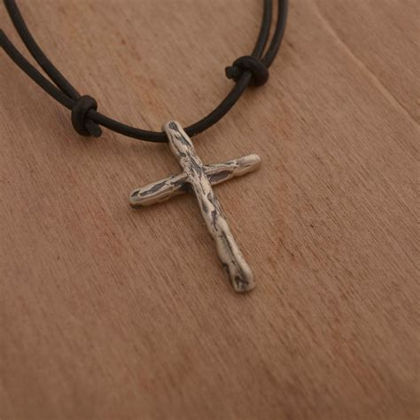 mens cross necklace sterling silver cross pendant on
