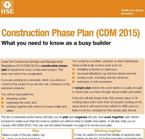 construction phase plan template cdm regulations 2015 new hse guides published pp