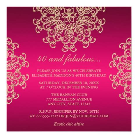 birthday invitation indian pink and gold indian inspired birthday square paper