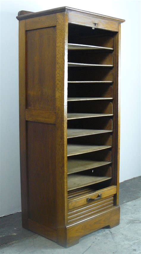 Cupboard Shelving - 1920s oak tambour door cabinet