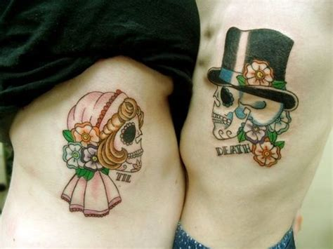 sugar skull couple tattoo 32 matching designs for couples