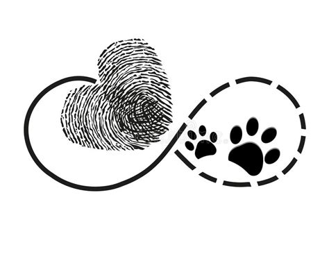 eternity with finger print heart and dog paw prints symbol