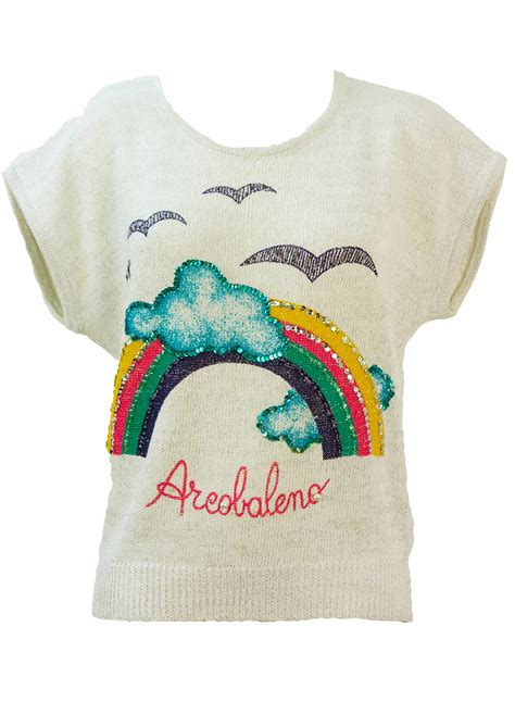 rainbow pattern jumper white silver short sleeved jumper with multicoloured