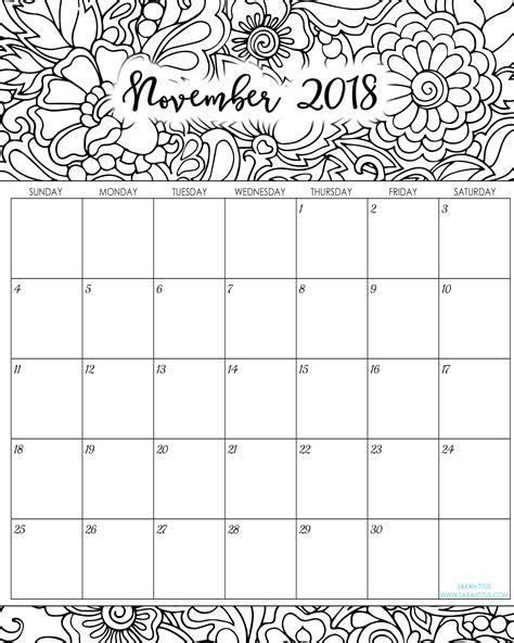 printable calendar 2018 sarah titus 2018 monthly coloring calendars printables sarah titus