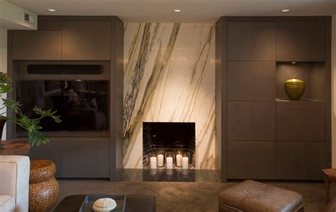 marble fireplace surround basement modern with