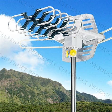 outdoor hdtv home lified antenna tv uhf vhf ota 360 176 rotation 36db 150 ebay